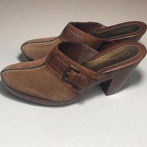 Cole Haan Brown Suede Clogs With Wooden Heel